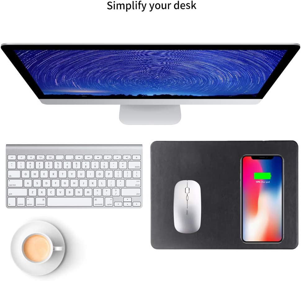 Black Fast Wireless Charging Gaming Mouse Pad 2 in 1 Qi Charging Mat for iPhone 11 11 Pro Xs Max//XR//XS//X//8 for Samsung Galaxy S10//S9//S8//Note 8//9 All Qi Enabled Devices Cdycam Wireless Charger Pad