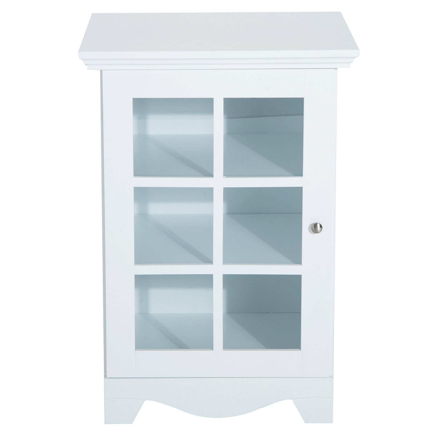 New White Wood Cabinet Storage Hutch Kitchen Bathroom Bedroom Single Glassed Door Shelves by totoshop (Image #1)