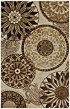 Mohawk Home New Wave Inspired India Neutral Medallion Printed Area Rug, 5'x8', Tan