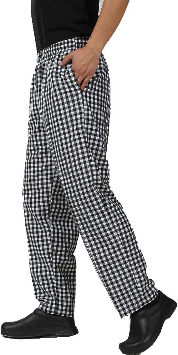 Jxh Chef Uniforms Mens Black White Checkered Pants Elastic Waist Kitchen Accessories Men