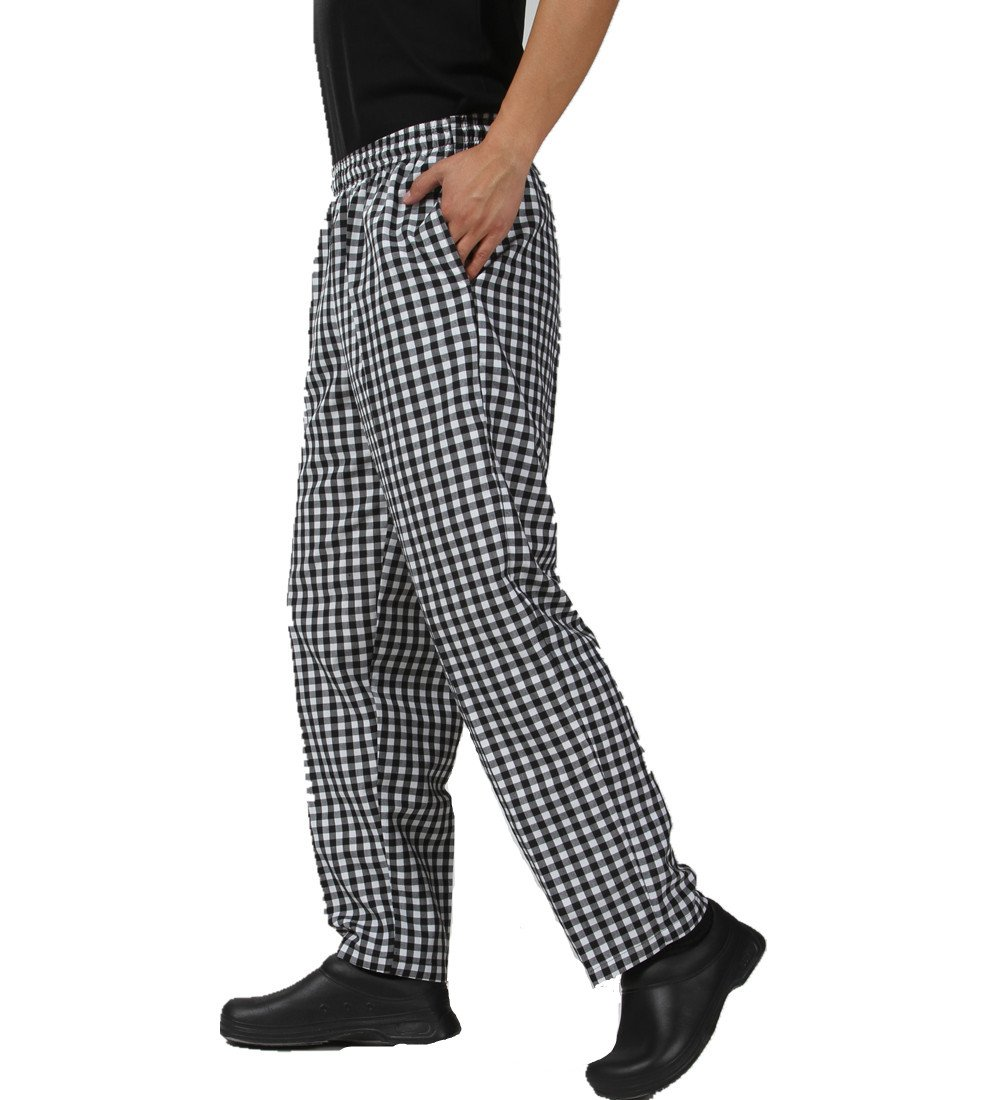 JXH Chef Uniforms men's black and white checkered chef pants with elastic waist, large