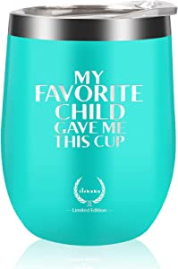 Mom Birthday Gifts From Daughter or Son Wine Tumbler- Novelty Unique Wine glass Personalized Present for Mother's Day,Funny gifts for Moms,Aunt,Grandma,Vacuum Insulated 12oz Blue