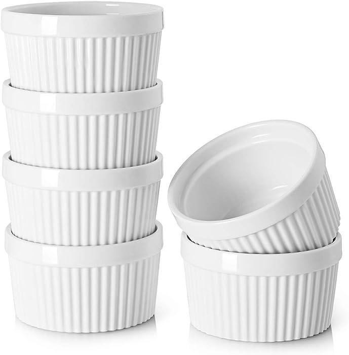 DOWAN 8 Oz Porcelain Ramekins - Souffle Dish Ramekins for Creme Brulee Pudding Oven Safe, Classic Style Ramekins Bowls for Baking, Set of 6, White