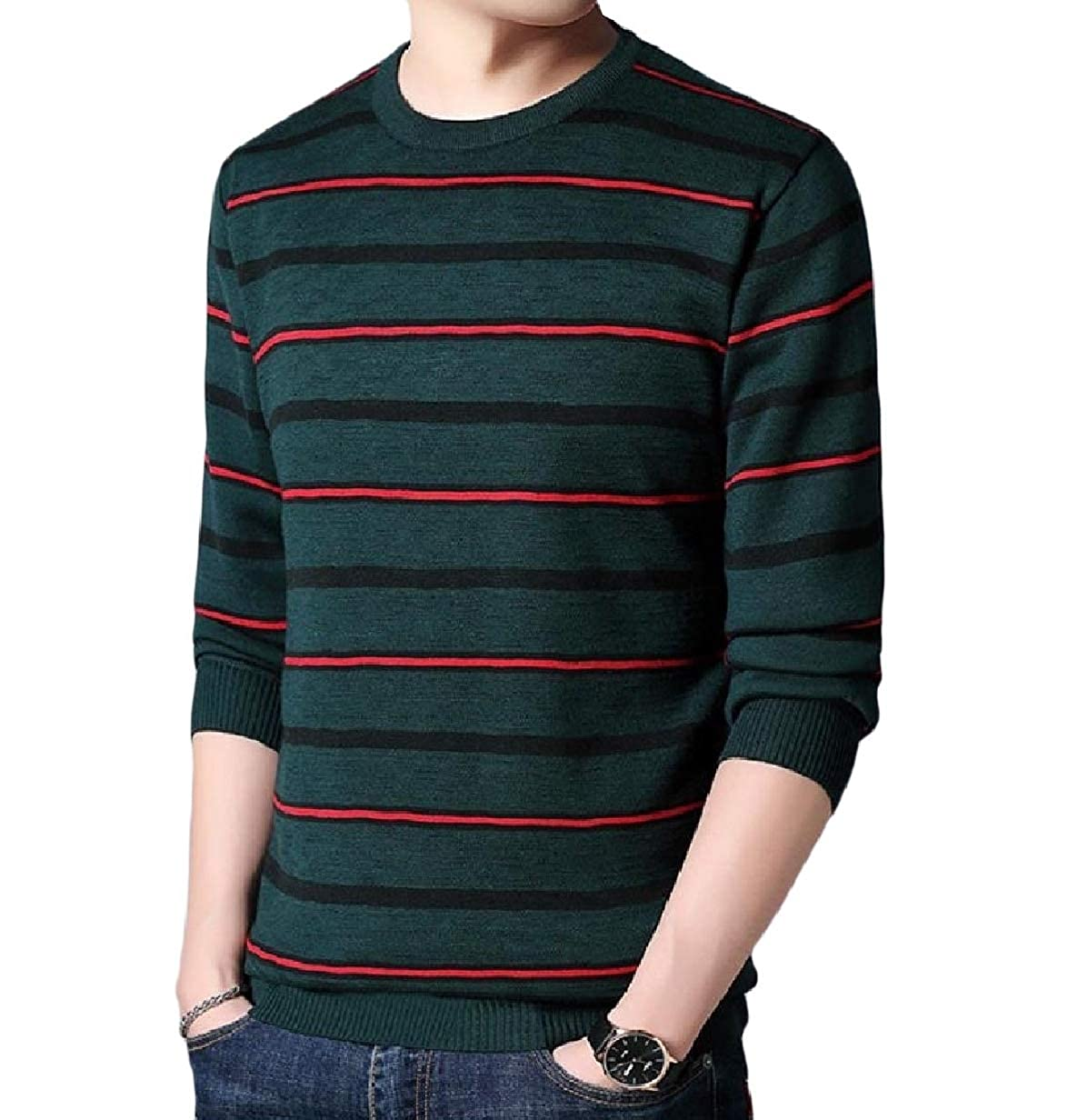 VITryst-Men Thicken Classic Plus Size Knit Slim Stripes Pullover Sweaters