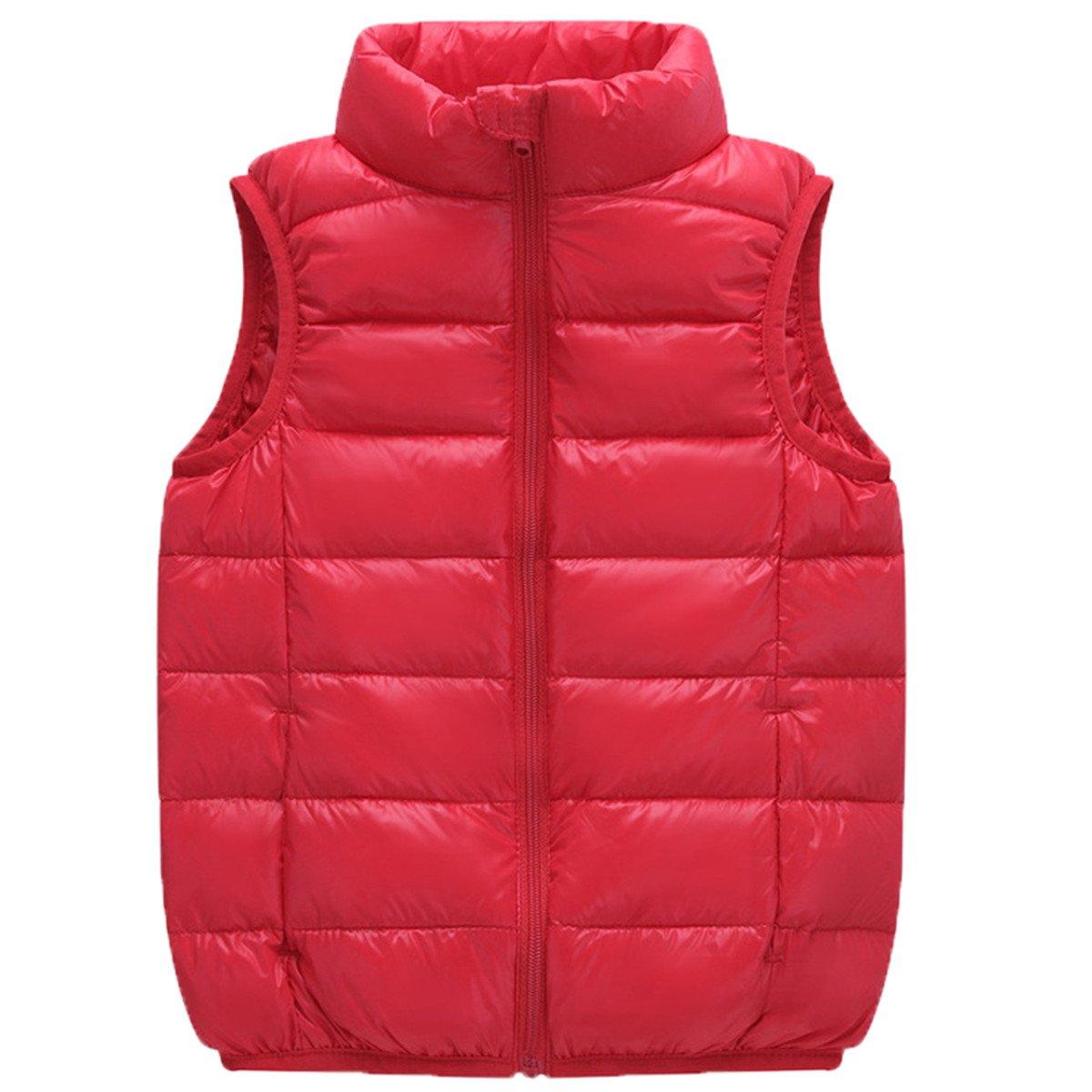 JELEUON Kids Baby Girls Boys Sleeveless High Neck Lightweight Down Puffer Vest Jacket
