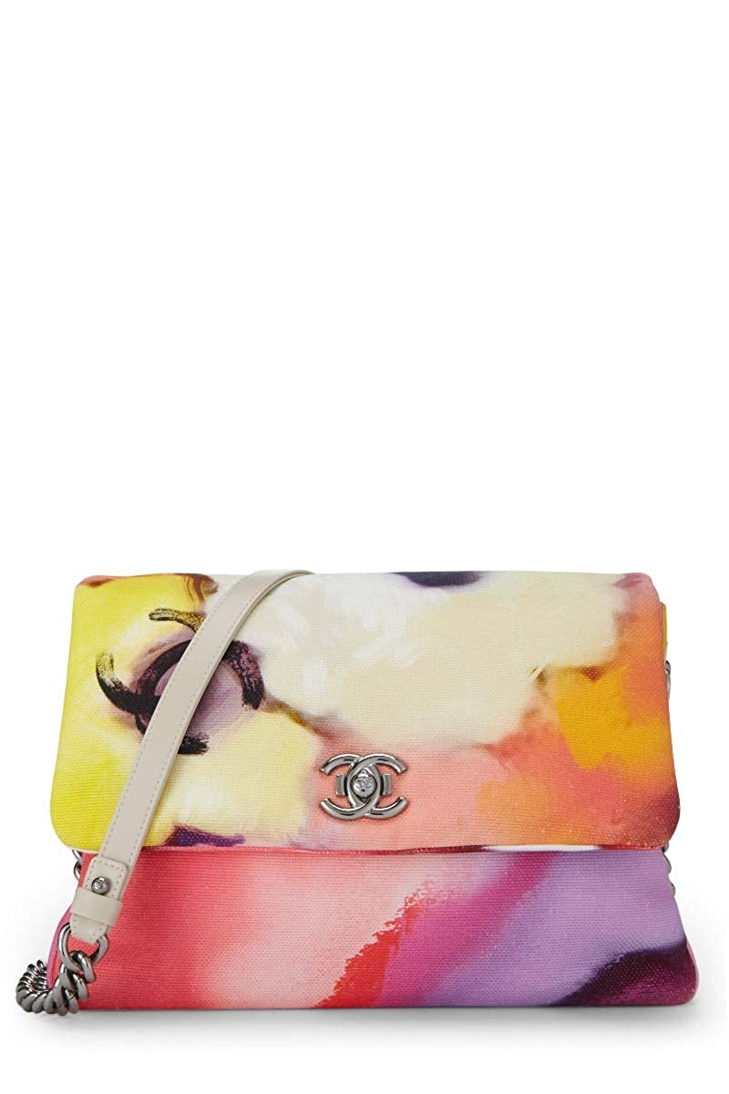 CHANEL Flower Power Canvas Shoulder Bag (Pre-Owned)