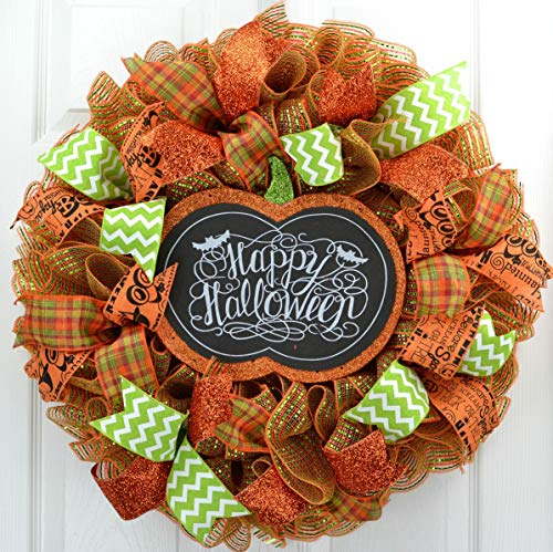 Halloween Mesh Wreath | Halloween Door Wreath | Pumpkin Outdoor Front Door Wreath