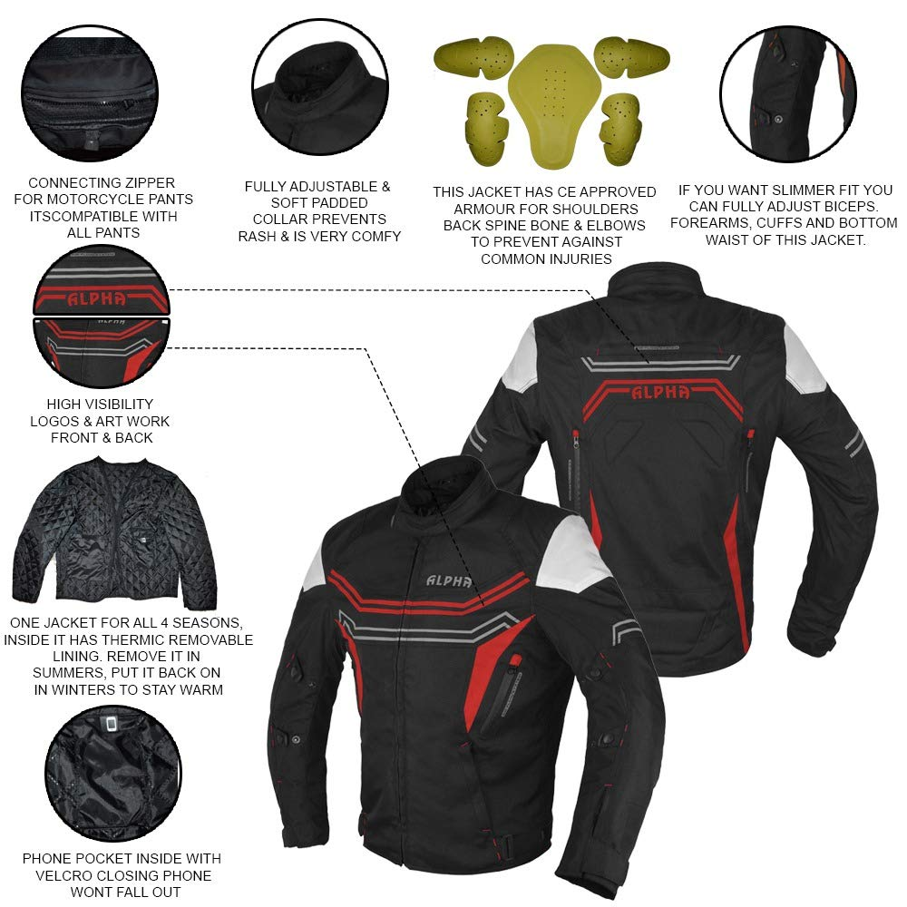 JAYEFO-ALPHA CYCLE GEAR MOTORCYCLE ALL SEASON JACKET RED, XX-LARGE