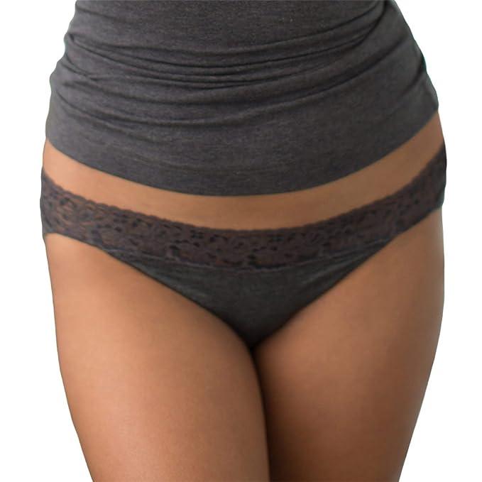 01e9eb9dad2e0 Cariloha Women's Bamboo Underwear Viscose from Bamboo Lace Bikini Panties  (Small, Charcoal Heather)