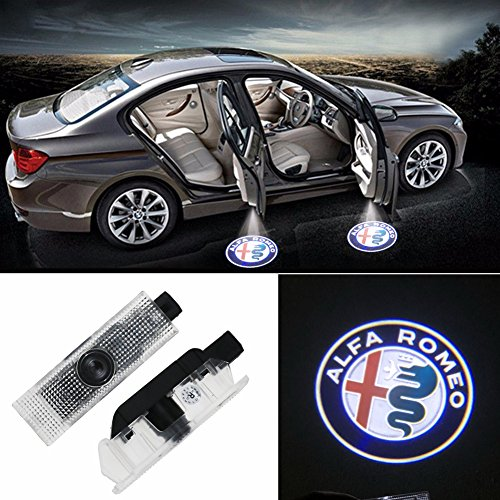 Grolish 2 Piece Cree Logo Projector Car Door LED Lighting Logo Shadow Light for Alfa Romeo