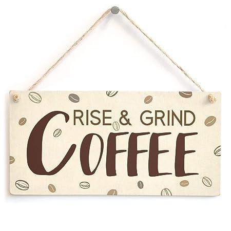 Hunnry Rise and Grind Coffee Letrero de Placa de Madera ...