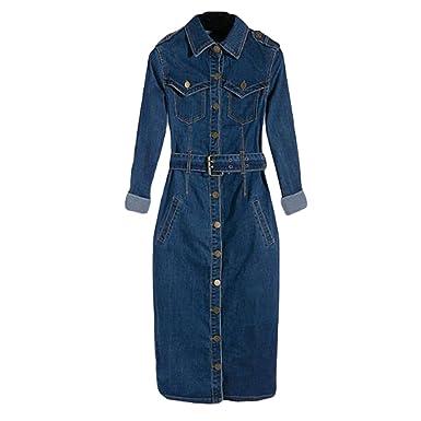bac39723af8d Amazon.com: Stevenurr Popular, Summer Tunic Shirt Dress Women Denim Vintage  Long Sleeve Jeans Dresses Party Sexy Plus Size Dress Blue XXL Beautiful: ...