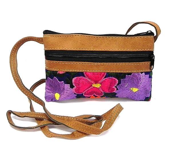 a9589a99f11 Small Tan Vegan Leather Multicolored Embroidered Floral Stitch Slim Fashion  Travel Purse Bag Zipper Pocket Crossbody Strap (Blue)  Handbags  Amazon.com