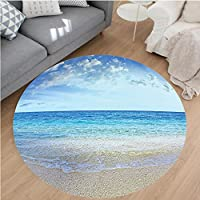Nalahome Modern Flannel Microfiber Non-Slip Machine Washable Round Area Rug-Sea and Bright Sky with Clouds at the Sandy Beach Be Grateful to Nature Theme Cream Blue area rugs Home Decor-Round 36