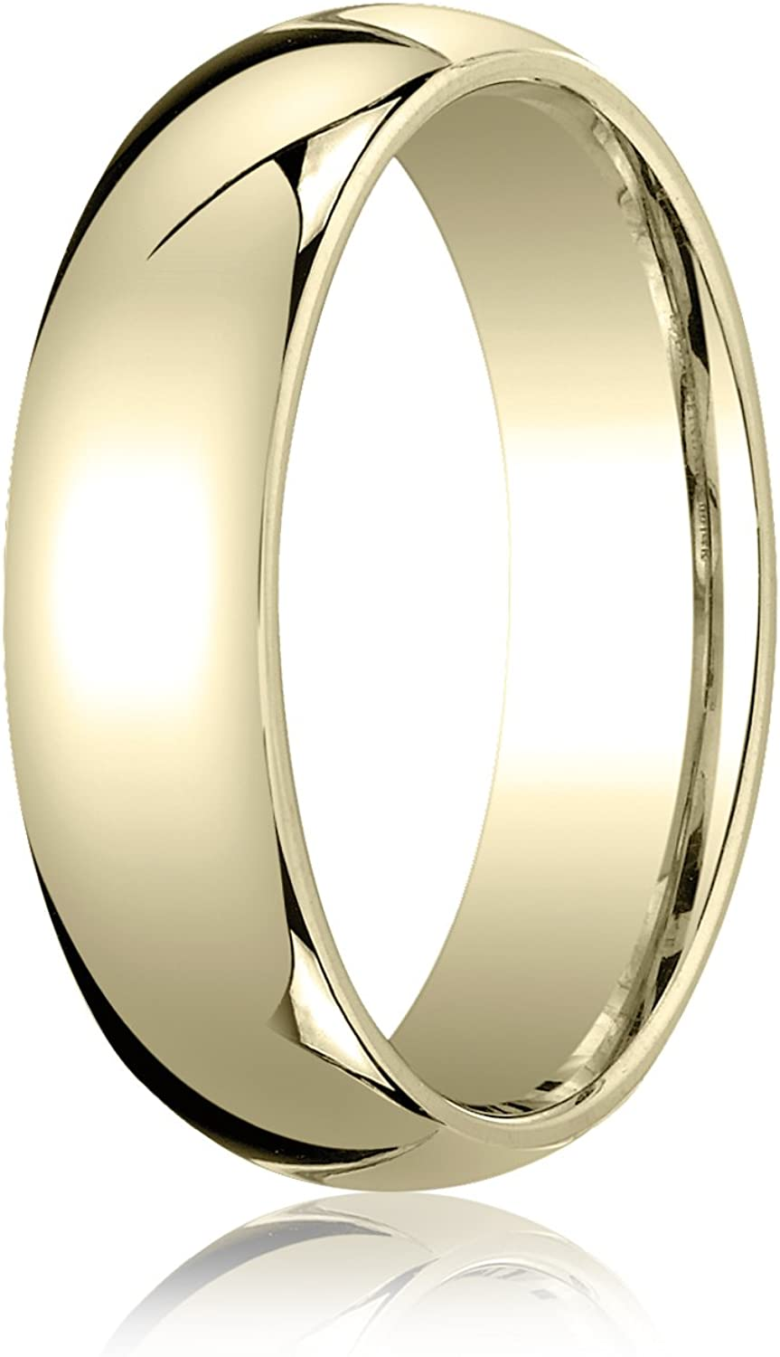 Men's 14K Yellow Gold 6mm Slightly Domed Standard Comfort Fit Wedding Band Ring