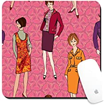 Luxlady Suqare Mousepad 8x8 Inch Mouse Pads/Mat design IMAGE ID: 17715811 Stylish fashion dressed girls 1950 s 1960 s style seamless background Retro fashion party vint