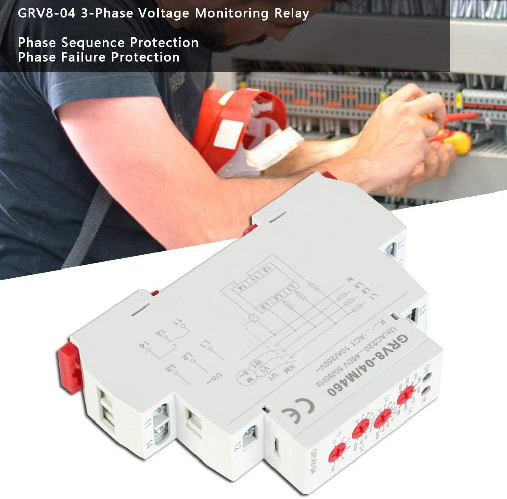Rosvola Time Relay GRV8-04 3-Phase Voltage Monitoring Relay Phase Sequence Phase Failure Protection M460