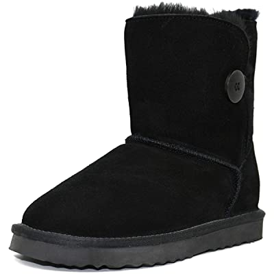 MUSSHOE Women's Mid Calf Winter Boots Short Button Snow Boot | Snow Boots