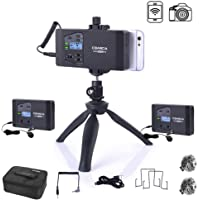 Comica CVM-WS60 Combo Wireless Dual Lavalier Lapel Microphone System, with 2 Transmitter and 1 Recevier, 194ft Wireless Range, Wireless Microphone for Smartphone iPhone Canon Nikon Sony Camera