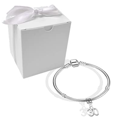 da37a6b35 Womens 30th Birthday Silver Plated Starter Charm Bracelet with Gift Box:  Amazon.co.uk: Jewellery