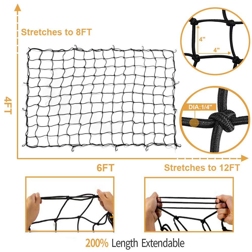 3x4 Latex Bungee Cargo Net Stretches to 6x8 Heavy Duty Elastic Luggage Car Rack Netting with 12 Aluminum D-Clip Tangle-Free Carabiners Truck Bed Mesh Spider Web Tie Down Pickup SUV Trailer Boat