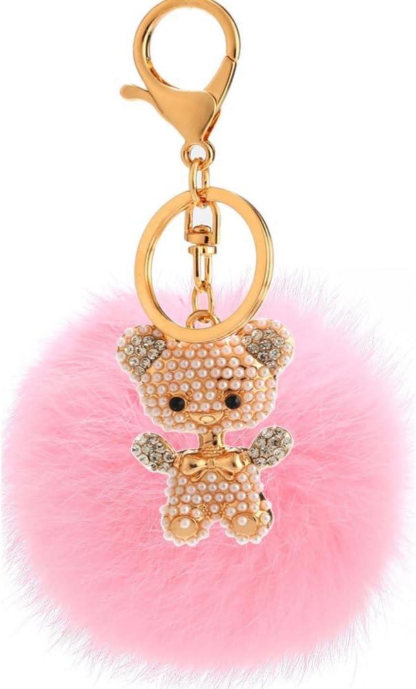 Osito De Peluche para Mujer con Colgante De Bola De Pelo con Perlas Y Diamantes Rosa