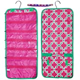 Unique Pink Green Quatrefoil Hanging Travel Jewelry Makeup Kit Hanger Organizer Inexpensive Summer Camping Gift Idea Bag Case Cool Birthday Quirky Kid Wife Women BFF Her Teenage Girl Mother in Law