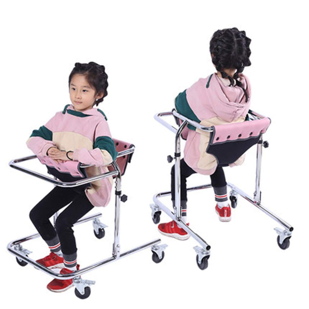 Seat & Roller Bar Covers Walker Stainless Steel Folding Children Walker Disability Fracture Rehabilitation Practice Training Cart Four Wheel Standing Training Walker (Color : White, Size : 6547cm) by Seat & Roller Bar Covers