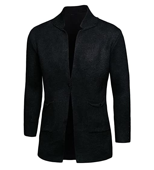 Oberora Mens Long Sleeve Open Front Shawl Collar Longline Cardigan ...