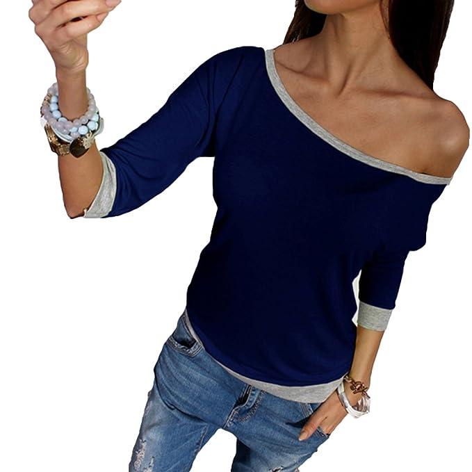 Juleya Mujer Moda Camiseta - Manga 3/4 Fuera del Hombro Blusa Color Sólido Camisas