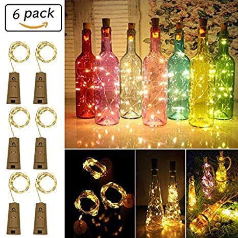 6 cadenas de luces LED para botellas, blanco cálido, 10 LEDs, 1 m