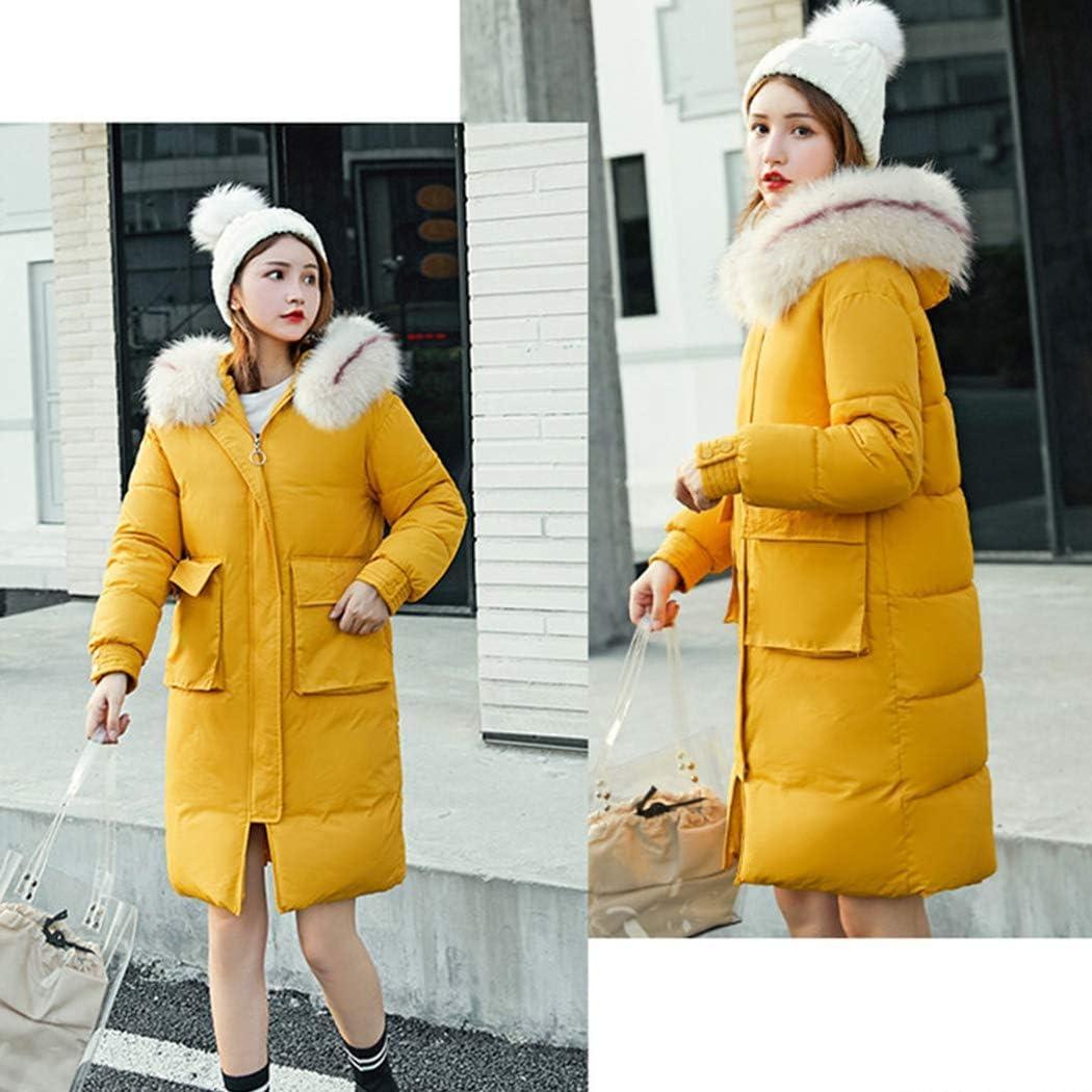 ZHTY Giacca da Donna in Cotone Piumino Giacca in Cotone con Collo Sottile in Pelliccia con Cappuccio Sciolto yellow