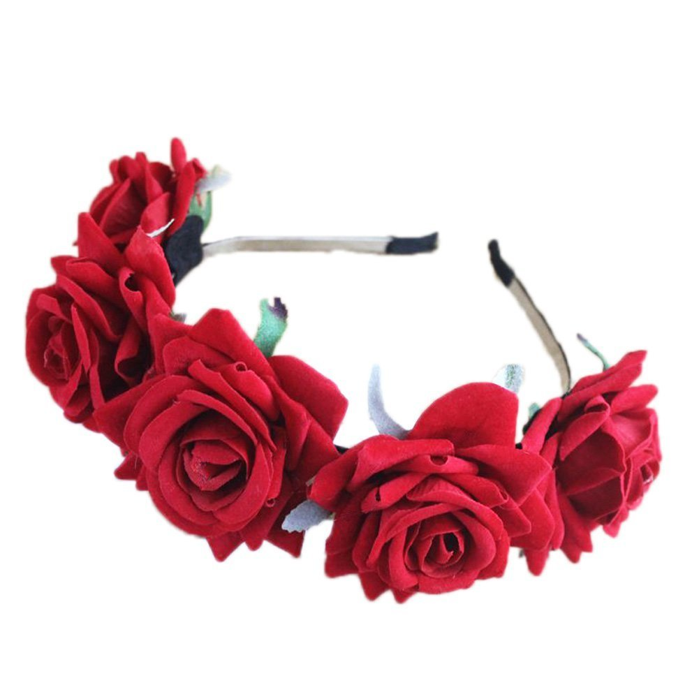 29fb719b81c Amazon.com   Halloween Women Rose flower headband Crown Bridal Festivals  Hair Hairband Costume Hair Hoop (CB Rose flower red)   Beauty