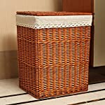 Minmin11 The Basket Lady Round Wicker Hamper | Wicker Laundry Hamper, Large, Antique Walnut Brown