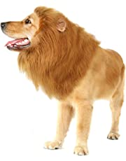 Pet Dog Lion Mane Wig for Dog Christmas Birthday Party Gift Realistic Funny Complementary Costumes Lion Wig for Medium to Large Sized -Ear and Tails (Brown)