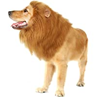 Pet Dog Lion Mane Wig for Dog Christmas Birthday Party Gift Realistic Funny Complementary Costumes Lion Wig for Medium to Large Sized -Ear