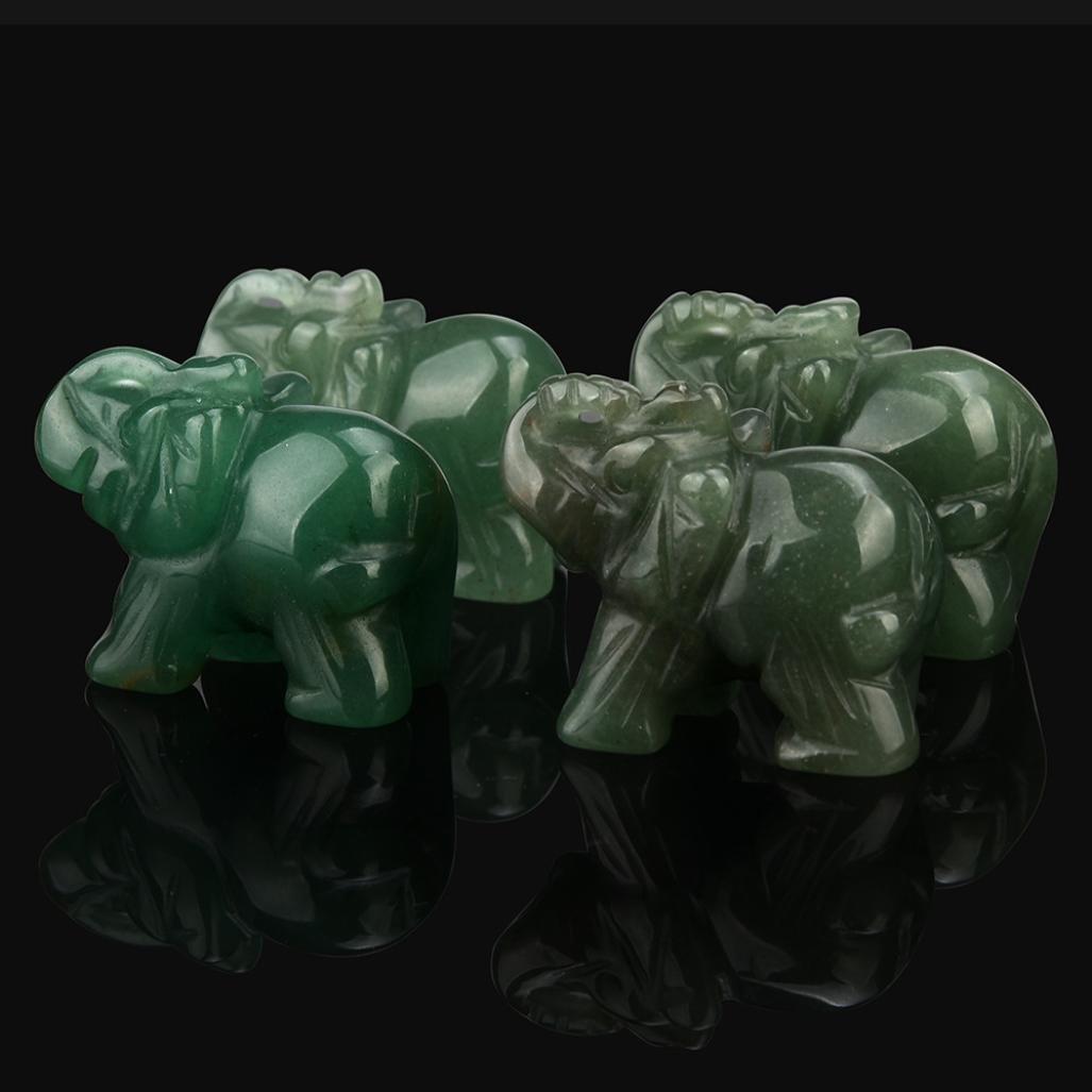Hunpta 1/pcs sculpt/é /à la main Elephant Jade Pierre pr/écieuse Ornement Craft Presse-papiers Al/éatoire