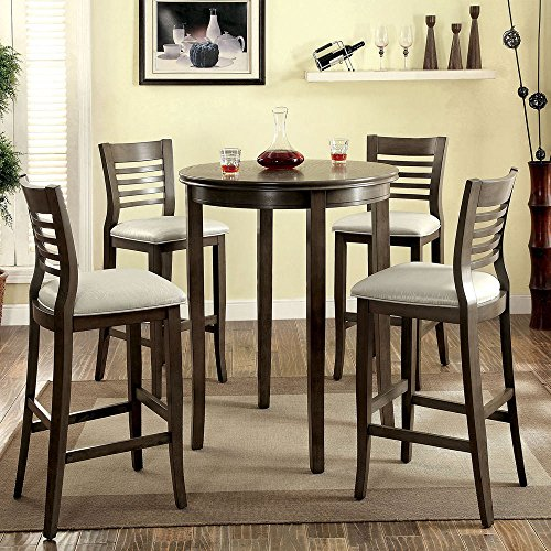 1PerfectChoice Dwight 5 pcs Round Dining Bar Table Barstool Chairs Padded Leatherette Wood Gray