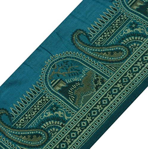 Vintage Sari Border Indian Craft Trim 100% Pure Silk Woven Ribbon Lace Teal Blue