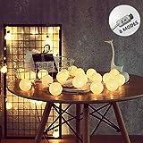 ELINKUME String Light 20LED White Cotton Balls 8 Modes String Light 3.3M Fairy Lamp Beautiful Indoor Decoration Lighting (USB Interface, Warm White Lighting)