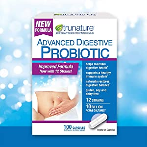 Trunature ADVANCED Digestive Probiotic with 12 Strains & 100 Capsules