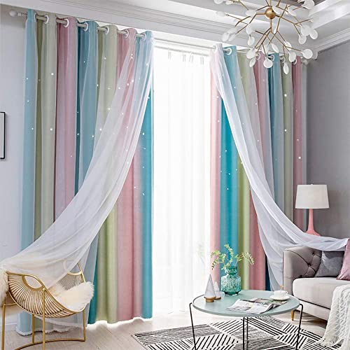TINYSUN Rainbow Stripe Star Cut-Out Romantic Blackout Curtain