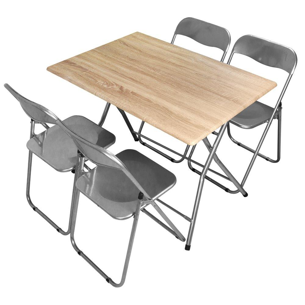 Divina Home Set tavolo + 4 sedie richiudibili in metallo lilla soggiorno DH52213
