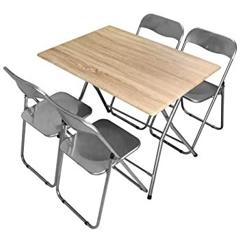 Divina Home Juego Mesa + 4 sillas Plegables de Metal Lila ...
