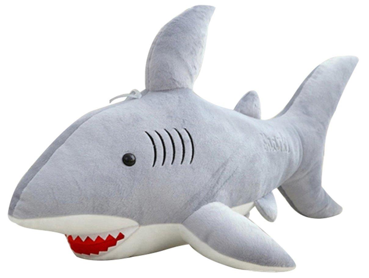 Axixi Plush Stuffed Cute Soft Shark Ocean Animals Cloth Shark Multi Style Toy Children Doll Birthday Gift Bolster (50cm/19.7'') (gray)