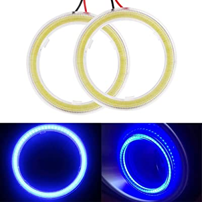 Everbrightt 1-Pair Blue 60MM 45SMD LED Vehicle Car Angel Eyes Halo Ring Lights Lamps with Shell: Automotive