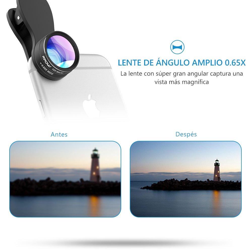 Supermo 180 Grad 0,65x Weitwinkelobjektiv Fisheye-Objektiv 3 in 1 Mpow 3 in 1 Clip-On Smartphone Kameraobjektiv MPPA007AB 10x Clip-On Frame Objektiv