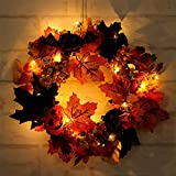 YJBear LED Light Fake Autumn Maple Leaf Berry Pumpkin Spring Front Door Wreath Display Garland Wedding Farmhouse Wall Window Decor Spooky Halloween Christmas Vintage Wreath Home Decoration,11.8-Inch