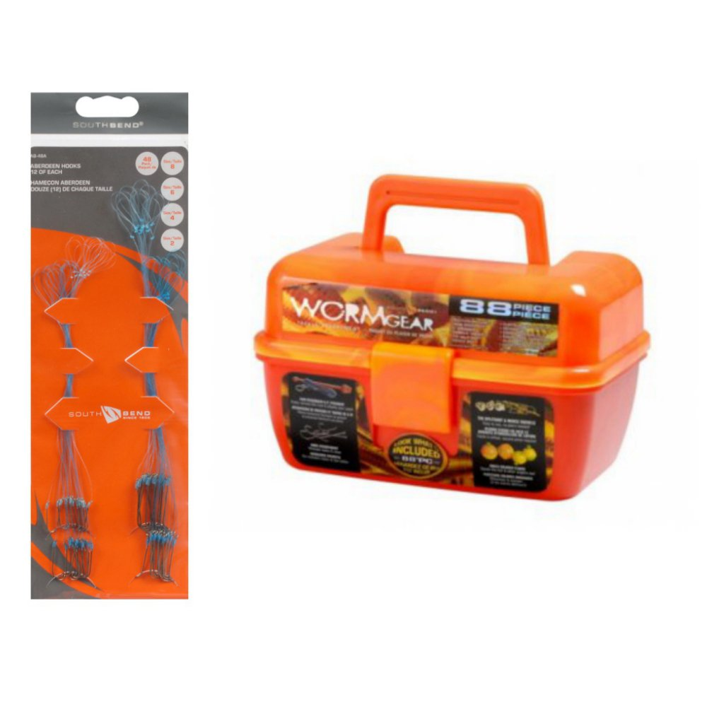 Orange Wormgear Tackle Box with Tackle Included - 136 Piece Tackle Box bundle