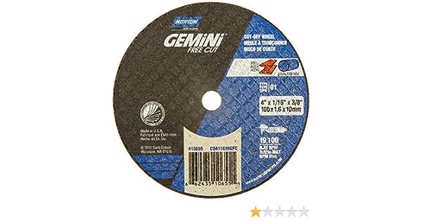 4 Diameter x 0.35 Thickness 3//8 Arbor Type 01 Norton Gemini Fast Cut Small Diameter Reinforced Abrasive Flat Cut-off Wheel Aluminum Oxide Pack of 25